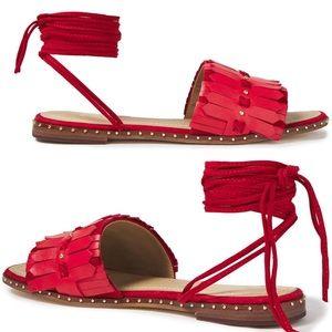 Maje Red Studded Suede-Trimmed Fringed Sandals